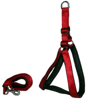 Pet Club51 High Quality Nylon Dog Harness With Padding 1.25 (Red And Black)