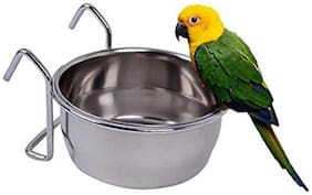 Pets Empire Stainless Steel Birds Coop Cup Feeder Bowl with Hook Holder, 200 ml