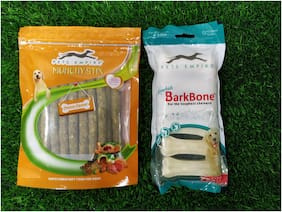 Pets Empire Combo Pressed Dog Bone (Medium, 4 pc) and Dog Chew Sticks, Chicken, 500 g