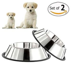 Pets Empire Stainless Steel Durable Dog Bowl For Dogs (Set of 2)