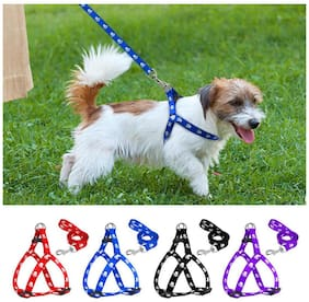 Pets Empire Durable Safe Strong Soft Adjustable Matching Nylon Dog Harness and Leash Set for Small Puppies Great for Walking Training chest 25-35 cm Width 1.0 cm- Color & Design Pattern May Vary,1 pcs