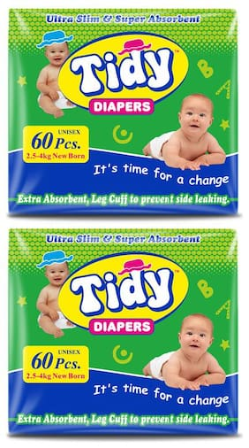 PH Tidy Baby Diaper New Born 60 Pcs ( Pack of 2)