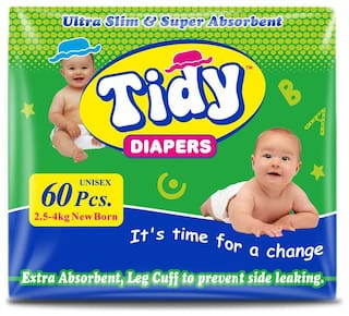PH Tidy Baby Diaper New Born 60 Pcs ( Pack of 1)