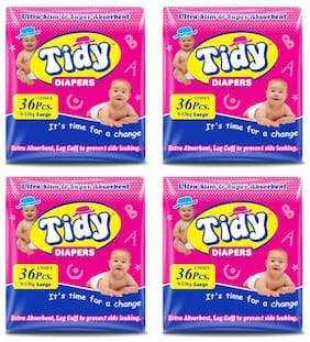 PH Tidy Baby Diaper Large 36 Pcs ( Pack of 4)