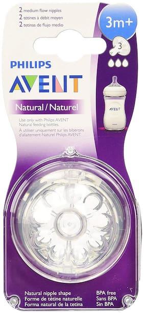 Philips Avent Natural Teat 3 Holes Medium Flow - 3 Months+ (2 Piece Pack)
