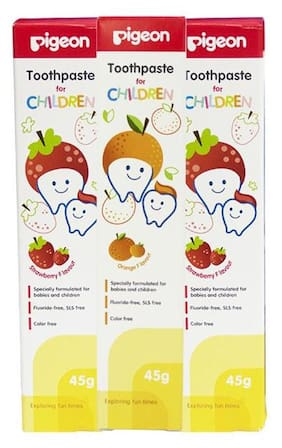 Pigeon Children Toothpaste Strawberry 45 gm Combo (2 pcs + Orange 45 gm 1 pcs)