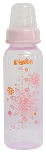 Pigeon Peristaltic Clear Nursing Floral Bottle Rpp - Pink 240 ml