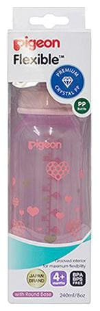 Pigeon Peristaltic Clear Nursing Bottle Rpp - Pink, Abstract 240 ml