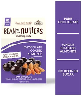 Pink Harvest Farms Bean to Nutters Dark Chocolate Coated Almonds 100g (Pack Of 1)