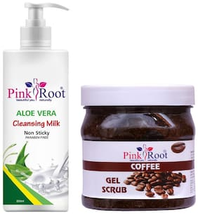 Pink Root Aloe Vera Cleansing Milk 200ml With Coffee Gel Scrub 500g