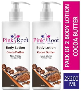 Pink Root Body Lotion Cocoa Butter 200ml (Pack of 2)