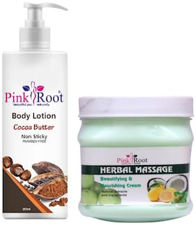 Pink Root Cocoa Butter Body Lotion 200ml With Herbal Cream 500g
