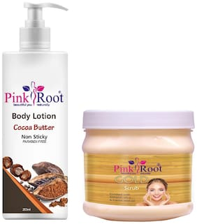 Pink Root Cocoa Butter Body Lotion 200ml With Gold Scrub 500g