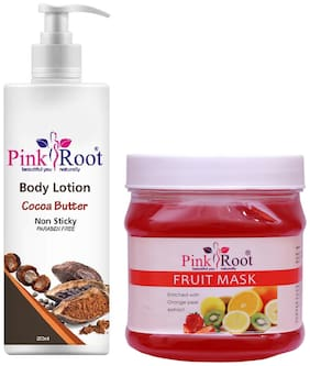 Pink Root Cocoa Butter Body Lotion 200ml With Fruit Mask 500g