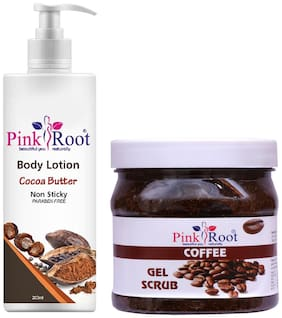 Pink Root Cocoa Butter Body Lotion 200ml With Coffee Gel Scrub 500g