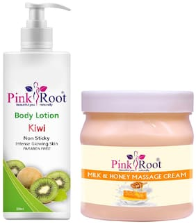 Pink Root Kiwi Body Lotion 200ml With Milk Honey Cream 500g