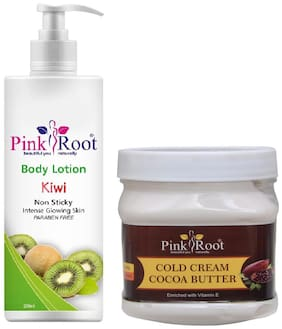 Pink Root Kiwi Body Lotion 200ml With Cocoa Butter Cold Cream 500g