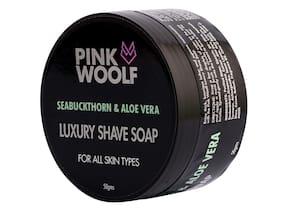 Pink Woolf Luxury Shaving Soap (SeaBuckthorn & Aloe Vera Soap) 50 g