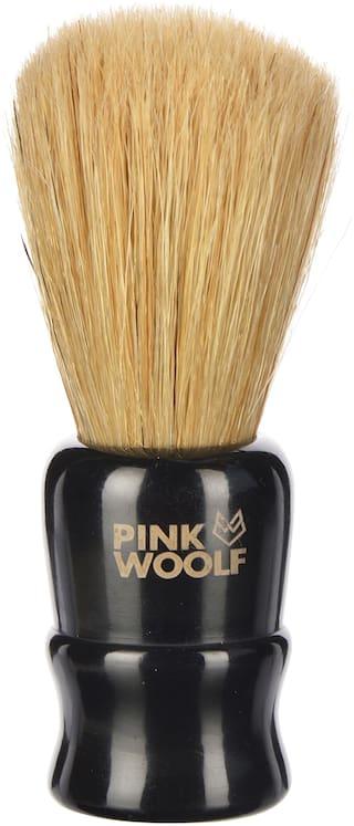 Pink Woolf Natural Bristles Shaving Brush;Black Handle;25mm Knot