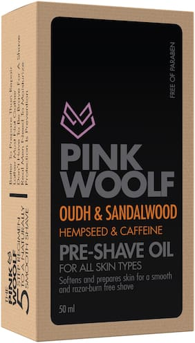 Pink Woolf Pre-Shave Oil;All Skin Types;Oudh & Sandalwood;50ml