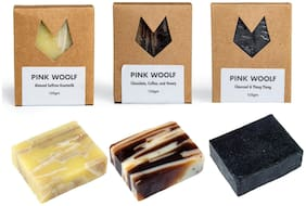 Pink Woolf Soap COMBO   Chocolate & Coffee, Charcoal, Almond & Saffron   Natural & Handmade   All Skin Types   Deep Clean & Moisturize   125g (Pack of 3)