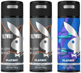 Playboy Hollywood + Hollywood + Generation Deo Combo Set - Pack of 3 Mens (450ml)
