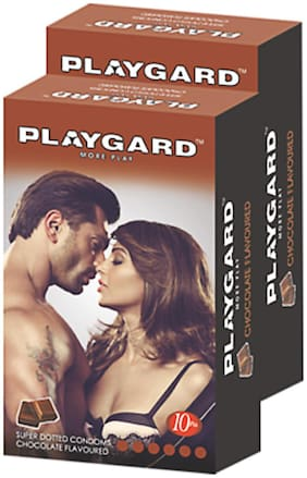 Playgard More Play Superdotted CHOCOLATE Flavoured Pack of 2(10 pcs Condoms each)