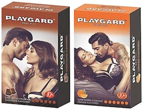 Playgard More Play Superdotted CHOCOLATE & ORANGE Flavoured Pack of 2(10 pcs Condoms each)
