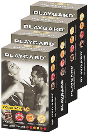 Playgard More Play Superdotted CHOCOLATE;STRAWBERRY;ORANGE AND BUTTERSCOTCH Flavoured Pack of 4(10 pcs Condoms each)