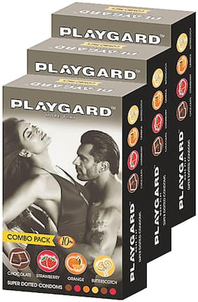 Playgard More Play Superdotted CHOCOLATE;STRAWBERRY;ORANGE AND BUTTERSCOTCH Flavoured Pack of 3(10 pcs Condoms each)