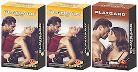 Playgard More Play Superdotted Two BUTTERSCOTCH & One CHOCOLATE Flavoured Pack of 3(10 pcs Condoms each)