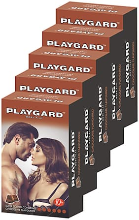 Playgard More Play Superdotted CHOCOLATE Flavoured Pack of 5(10 pcs Condoms each)