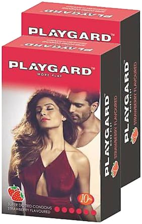 Playgard More Play Superdotted STRAWBERRY Flavoured Pack of 2(10 pcs Condoms each)
