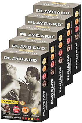 Playgard More Play Superdotted CHOCOLATE;STRAWBERRY;ORANGE AND BUTTERSCOTCH Flavoured Pack of 5(10 pcs Condoms each)