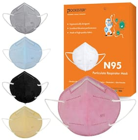 Pockester Anti Pollution Activate N95 5 Layer Multicolor ( Pack of 5 )