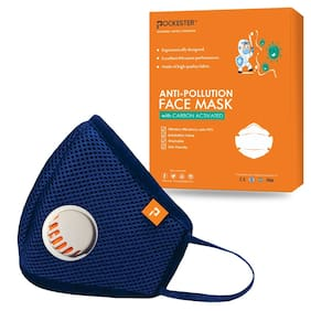Pockester Cotton Face Mask With Earloop  Blue M Size (Pack of 1)