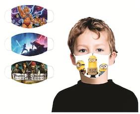 Pockester KIDS Printed Face Mask (K.no. 51_54_57) Reusable Cotton mask (S;Pack of 3)