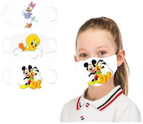 Pockester KIDS Printed Face Mask ( K.no. 78-80-82 ) Reusable Cotton mask (S;Pack of 3)