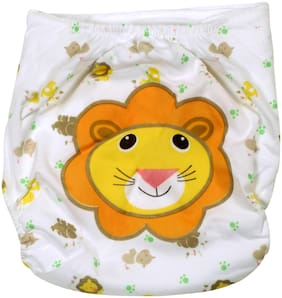 Pokory Baby Diaper Pants One free Size Reusable Washable In Attractive white colour and Lion Design Pack of 1