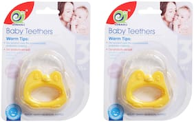 Pokory Baby Teether Food Grade Monkey Shaped Yellow - Teethers Non Toxic Sterilized Water Filled Suitable for 3 months and above Kids Baby Boy Baby Girl Toddler (Pack of 2)