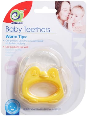Pokory Baby Teether Food Grade Monkey Shaped Yellow - Teethers Non Toxic Sterilized Water Filled Suitable for 3 months and above Kids Baby Boy Baby Girl Toddler (Pack of 1)