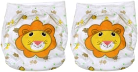 Pokory Baby Diaper Pants One free Size Reusable Washable In Attractive white colours and Lion Designs Pack of 2