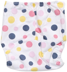 Pokory Baby Diaper Pants One free Size Reusable Washable In Attractive white colour and Polka Dots Designs Pack of 1