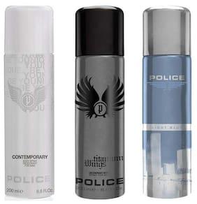 Police Contemporary Titanium Light Blue Deodorant Spray - For Men (600 Ml Pack of 3)