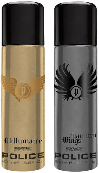 Police Millionaire & Wings Titanium Deo Combo Set(Pack of 2)