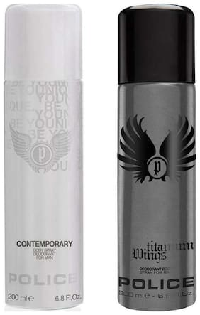 Police Titanium Contemporary Deodorant Spray - For Men (400 Ml Pack of 2)