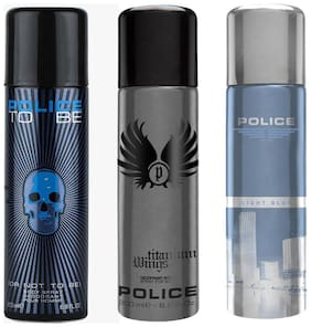 Police To Be Titanium Light Blue Deodorant Spray - For Men (600 ml Pack of 3)