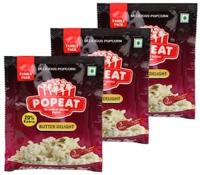 PopEat Butter Delight Instant Popcorn (Pack of 3 X 90 Grms)