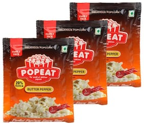 PopEat Butter Pepper Instant Popcorn(Pack of 3 X 90 Grms)