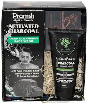 Pramsh Gift Pack off Activated Charcoal Soap 100gm, Face Wash Box 100ml  & Peel Off Mask 60gm